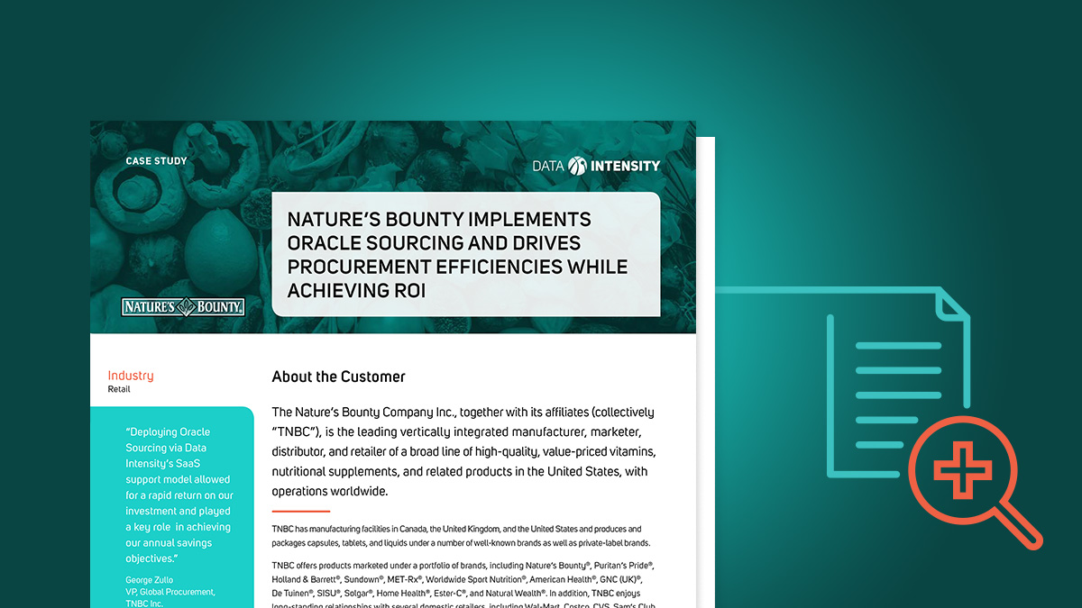 Nature's Bounty Implements Oracle Sourcing and Drives Procurement Efficiencies While Achieving ROI