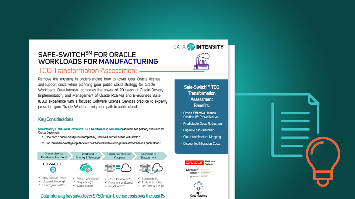 Safe-Switch for Oracle Workloads TCO Transformation Discovery Workshop — Manufacturing